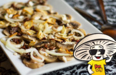 FunGuy Mushroom Salad with Sundried Tomatoes and Pan Fried Garlic