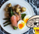 FunGuy's Smoke Salmon Wrapped Aspargus with Mushrooms and Soft Boiled Egg