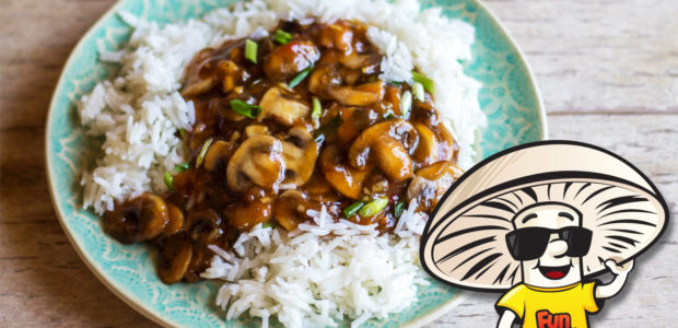 Spicy Sweet and Sour FunGuy Mushrooms and Jasmine Rice