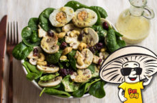 FunGuy's Spinach and Mushroom Salad with Creamy Honey Mustard Dressing